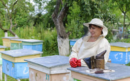 Portrait of a woman beekeeper Royalty Free Stock Photo