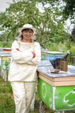 Portrait of a woman beekeeper Royalty Free Stock Images