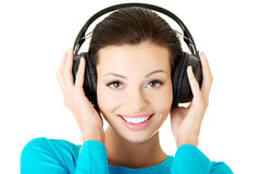 Portrait of a woman with big headphones Royalty Free Stock Image