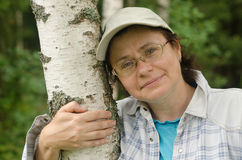 Portrait of a woman. In the birch forest Royalty Free Stock Image