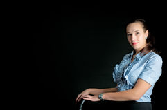 Portrait of a woman on a black background Stock Photo
