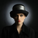 Portrait woman in black hat Royalty Free Stock Images