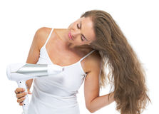 Portrait of woman blow-dry Royalty Free Stock Images