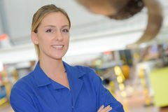 Portrait woman in blue work jacket Royalty Free Stock Photos