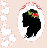 Portrait of woman with bouquet in hair. Card Royalty Free Stock Image