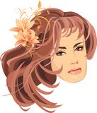 Portrait of woman with bouquet of lilies in hair Royalty Free Stock Photos