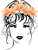 Portrait of woman with bouquet of lilies in hair Royalty Free Stock Photo