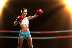 Portrait of a woman boxer Stock Photos