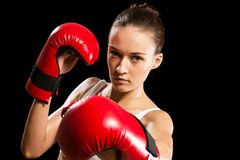 Portrait of a woman boxer Royalty Free Stock Images