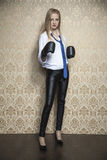 Portrait of a woman with boxing glove Royalty Free Stock Photo