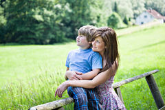 Portrait of a woman and boy Royalty Free Stock Image