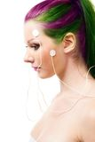 Portrait of a woman with brain sensors Royalty Free Stock Photo