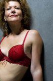 Portrait woman in brassiere close Stock Images