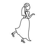 Portrait woman bride image outline Stock Images