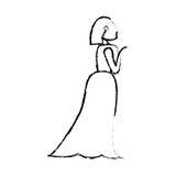 Portrait woman bride image sketch Royalty Free Stock Image