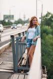 Portrait of woman on bridge Royalty Free Stock Photo
