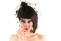 Portrait woman with bright makeup with veil Stock Image