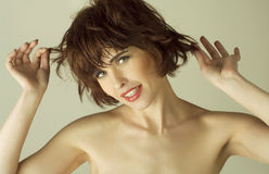 Portrait of a  woman with brown short hairs Royalty Free Stock Photography