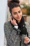 Portrait woman brunette calling mobile phone Royalty Free Stock Image
