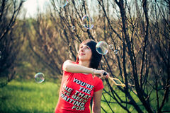 Portrait of woman with bubbles Royalty Free Stock Photos