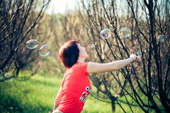 Portrait of woman with bubbles Royalty Free Stock Image