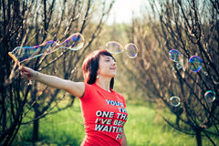 Portrait of woman with bubbles Stock Image