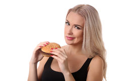 Portrait of woman with burger. Close up. White background royalty free stock photos