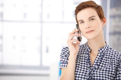 Portrait of woman on call Royalty Free Stock Photography