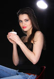 Portrait of a woman with a candle. Stock Photos