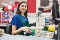 Portrait of woman cashier smiling Royalty Free Stock Image