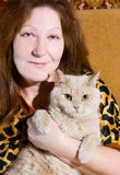 Portrait of woman and cat Stock Photos