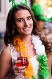 Portrait of woman celebrating St Patricks day Stock Photos