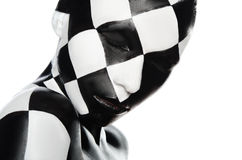 Portrait of woman in a checkerboard Royalty Free Stock Image