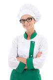 Portrait of woman chef in uniform isolated on white Stock Photography