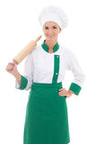 Portrait of woman in chef uniform with wooden baking rolling pin Royalty Free Stock Photos