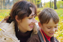 Portrait of a woman with a child Stock Images