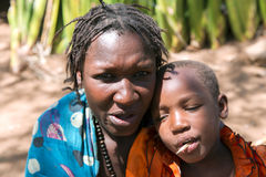 Portrait woman with a child close-up of the Hadzabe tribe Royalty Free Stock Photography