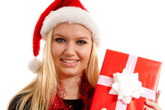 Portrait of woman with christmas hat and present Royalty Free Stock Image