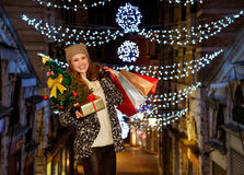 Portrait of woman with Christmas tree, gift and shopping bags Royalty Free Stock Image