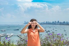 Portrait woman and Cityscape view point of Pattaya beaches. stock photography