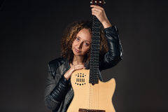 Portrait Woman with classical guitar Royalty Free Stock Image