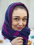 Portrait of the woman close up with a scarf on her head Stock Photo