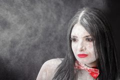 Portrait of a woman in a cloud of white powder Royalty Free Stock Photography