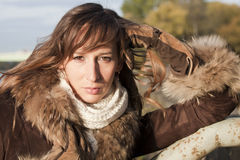 Portrait of woman in coat Stock Photography