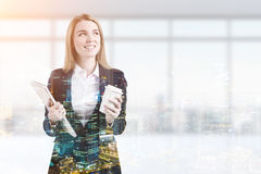 Portrait of woman with coffee in office Royalty Free Stock Photography