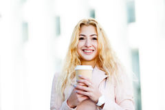 Portrait of woman with coffee stock photos