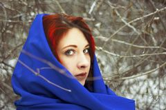 Portrait of a woman in a cold winter. stock photography