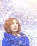 Portrait of a woman in a cold winter. stock images