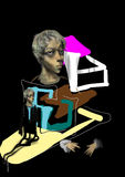 Portrait of a woman, with colorful shapes. Raster illustration over a black background Stock Image