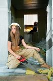 Portrait of woman on construction site Royalty Free Stock Image